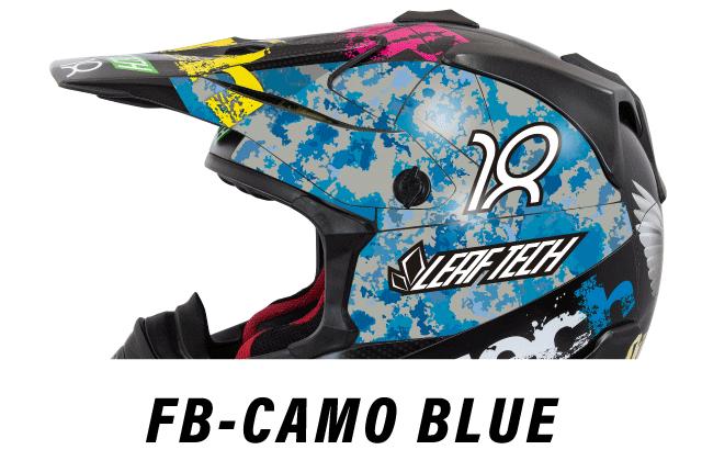 リーフテックヘルメットデカールfb-camo-blue