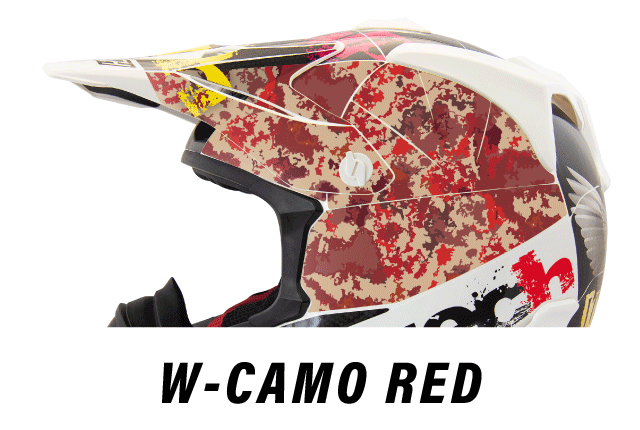 リーフテックヘルメットデカールw-camo-red